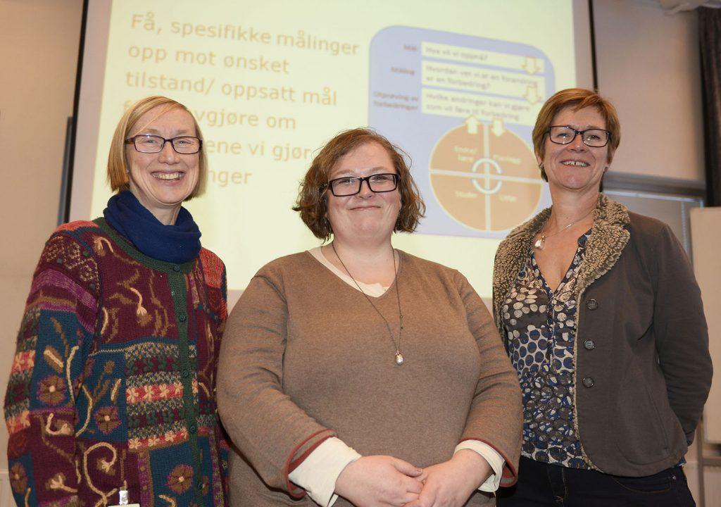Tordis Sørensen Høifødt (fra venstre), Elisabeth Klæbo Reitan og Mette Fredheim deltok på fagdagen om pasientsikkerhetskultur ved Psykisk helse- og rusklinikken på Åsgård tirsdag denne uken. Foto: Per-Christian Johansen