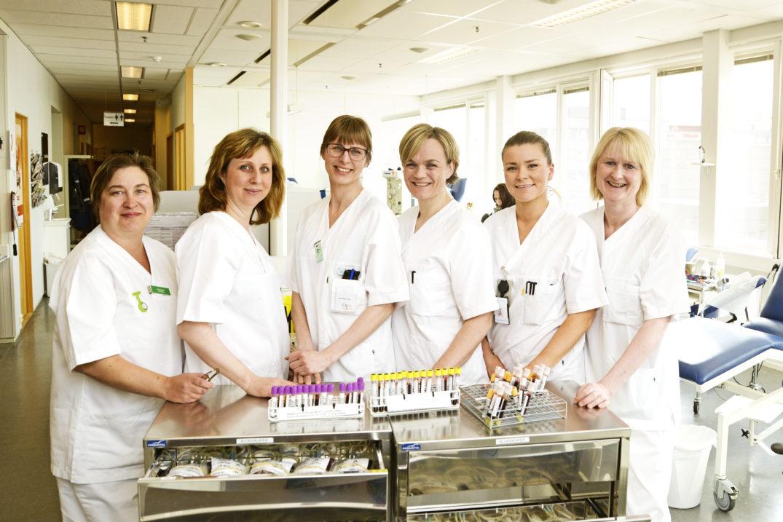 Her er et knippe av de flotte ansatte du kan møte ved Blodbanken i Tromsø. Fra venstre: Valentina Karlsen, Oxsana Ottesen, Åsa Hellstrøm, Berit Walle Wilhelmsen, Juliette Olsen og Gøril Tårnes.